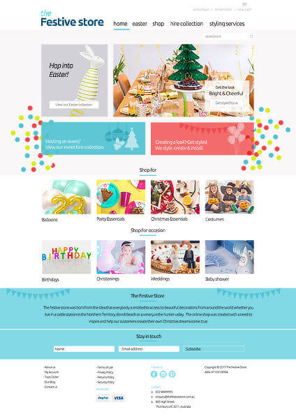 The Festive Store - Big Commerce Homepage